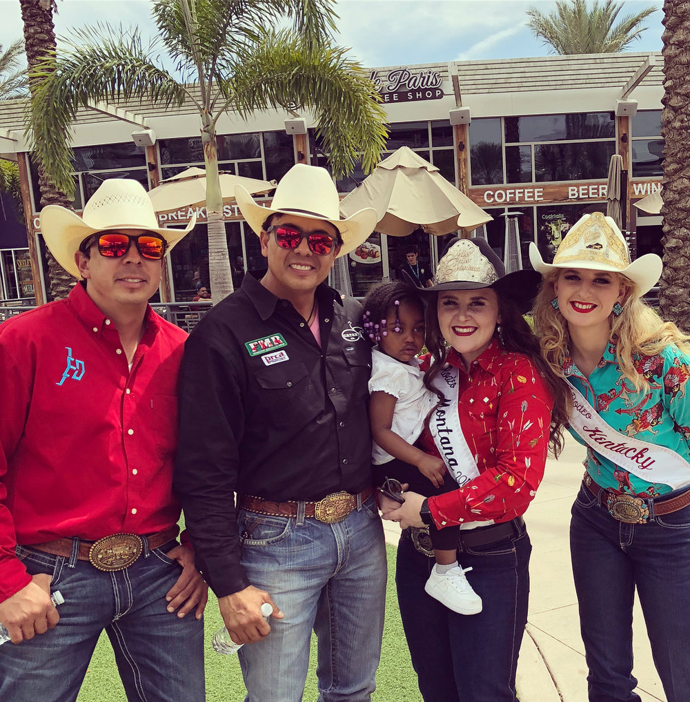 Kaitlin with Mexican Rodeo Federation members and Miss Rodeo Kentucky and one little cutie!