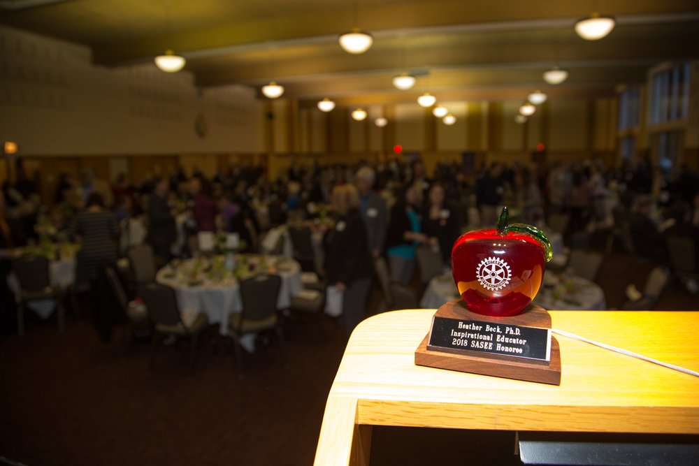 Heather Beck's Honorary SASEE Award on the lectern at the 2018 SASEE Awards dinner.  Photo by Brian Geraths at   http://www.photomediaproductions.com
