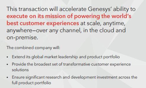 Genesys Interactive Intelligence acquisition