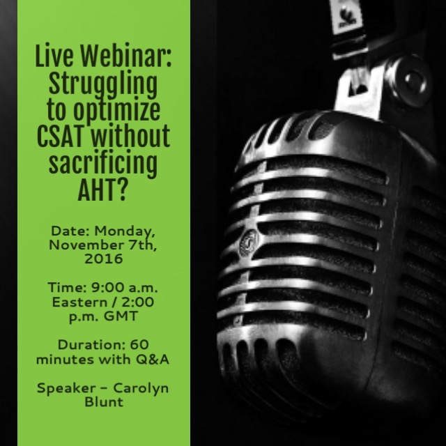 Contact Center master class series - AHT and CSAT