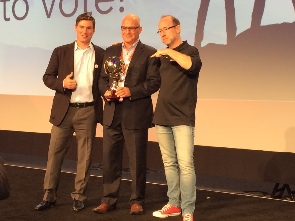 Accepting award for genesys video demo