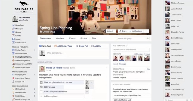 Facebook workplace for employee engagement