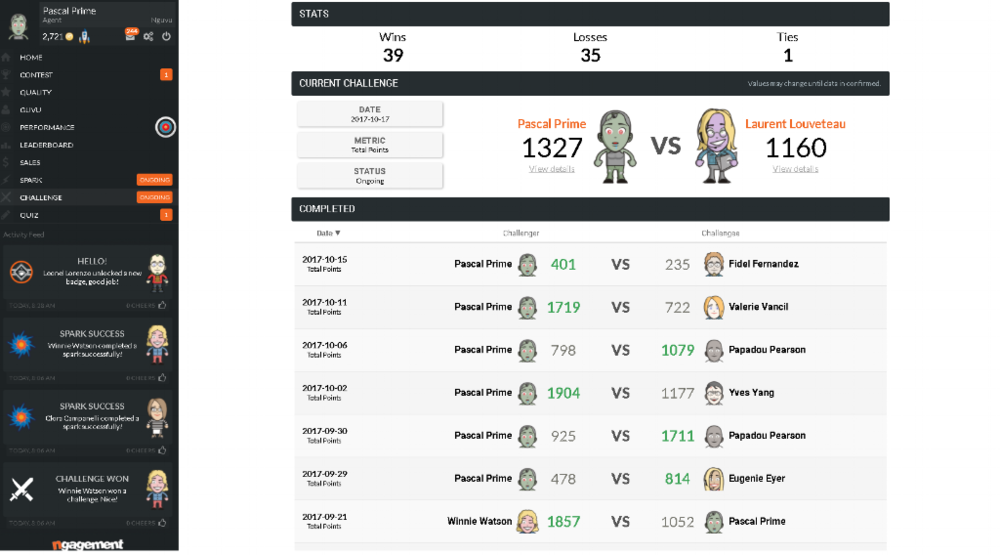 call center gamification platform - challenges screen