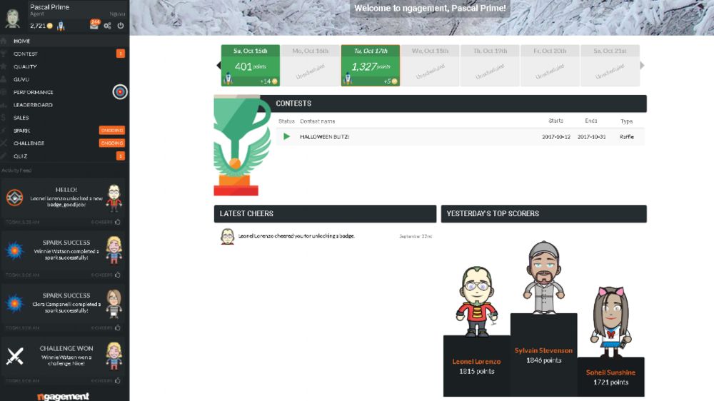 call center gamification platform - rewards and points