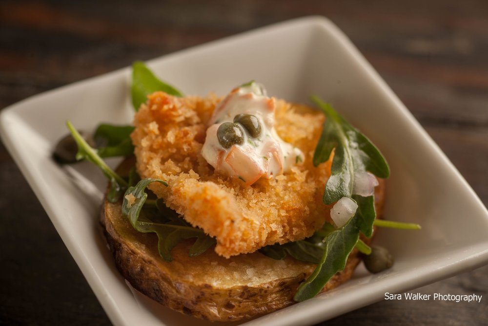 Chicken Paillard on a Potato Crisp with Caper, Tomato Aioli & Arugula Salad.jpg