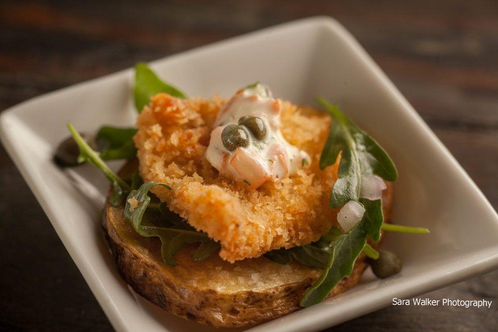 Chicken Paillard on a Potato Crisp with Caper, Tomato Aioli & Arugula Salad.jpg