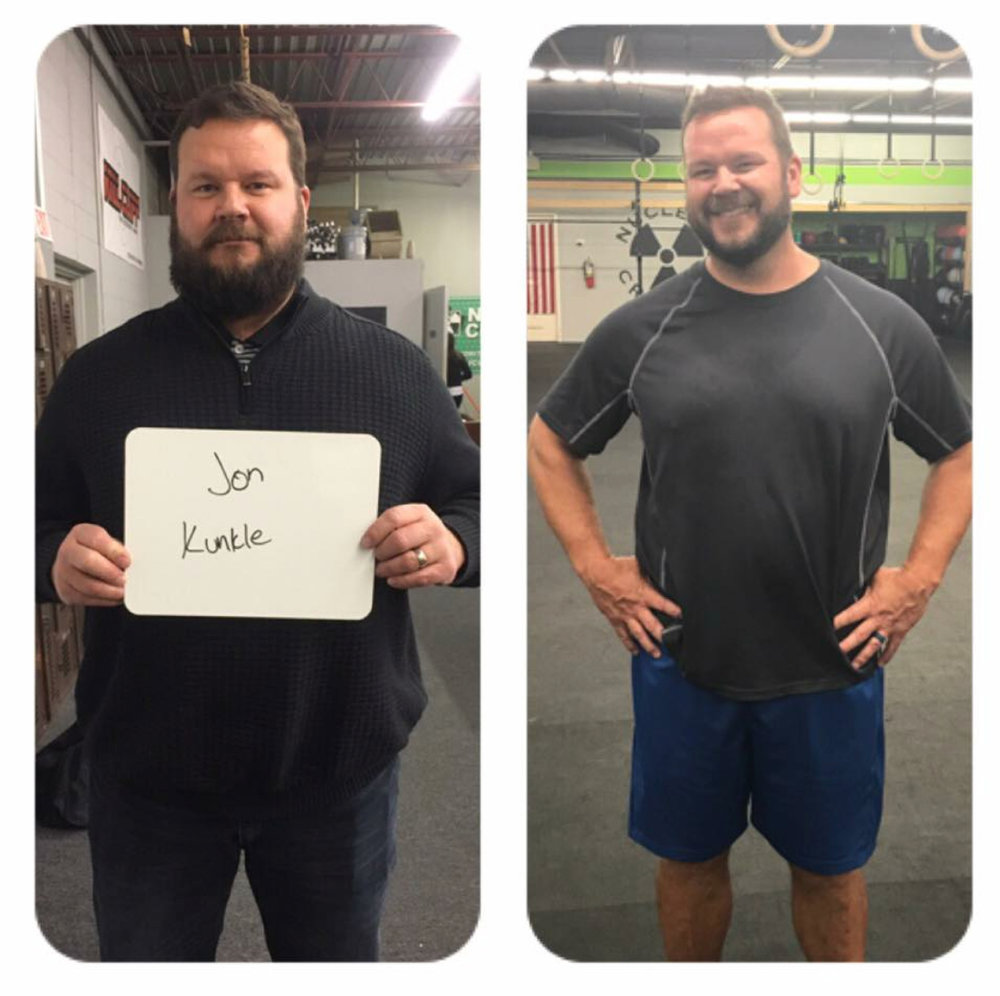 Jon K. - Since starting with us he has lost over 50lbs! We love having him as part of our community and can't wait to watch him reach his goals. Hard work pays off and that is proven by Jon!