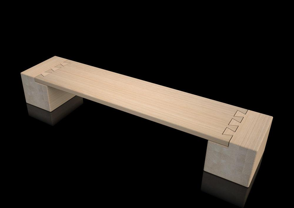 bench - natural massive oak rounded