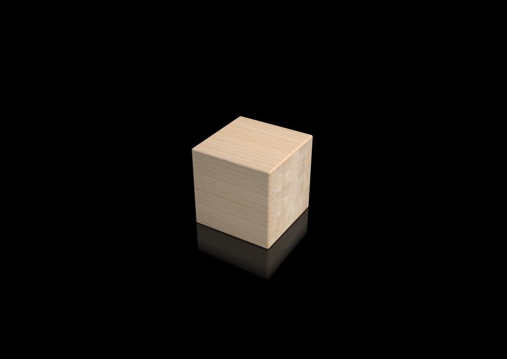 stool - natural massive oak rounded edges