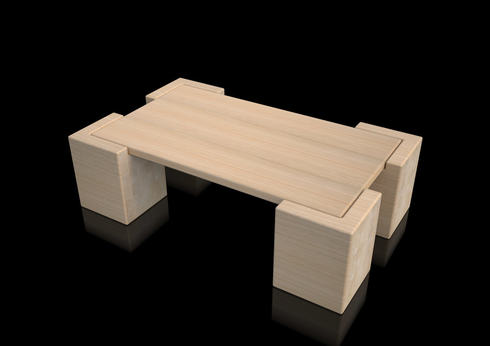 table - natural massive oak rounded