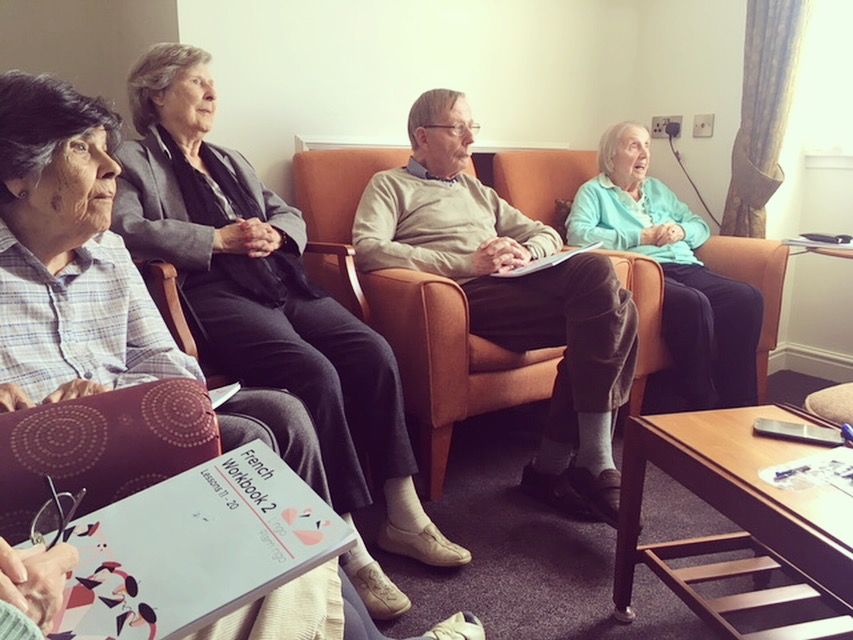 Anne's French class, Glencairn Care Home, Edinburgh