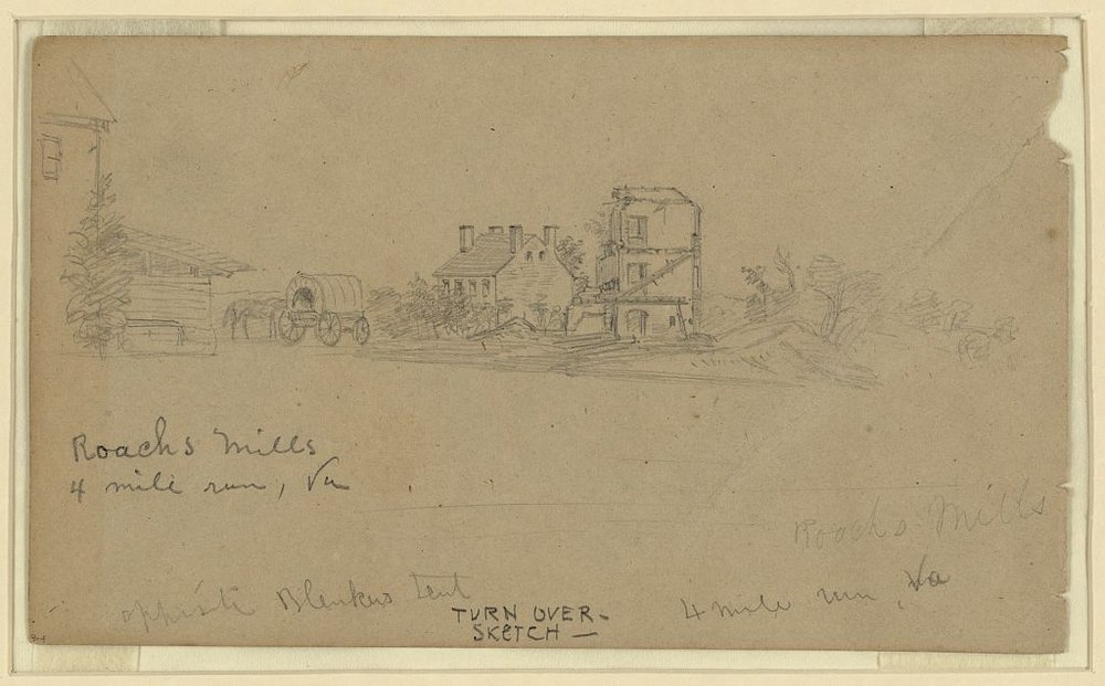 Roach's Mill, Civil War-era sketch by Alfred Waud, now in the Library of Congress Prints and Photographs Division.