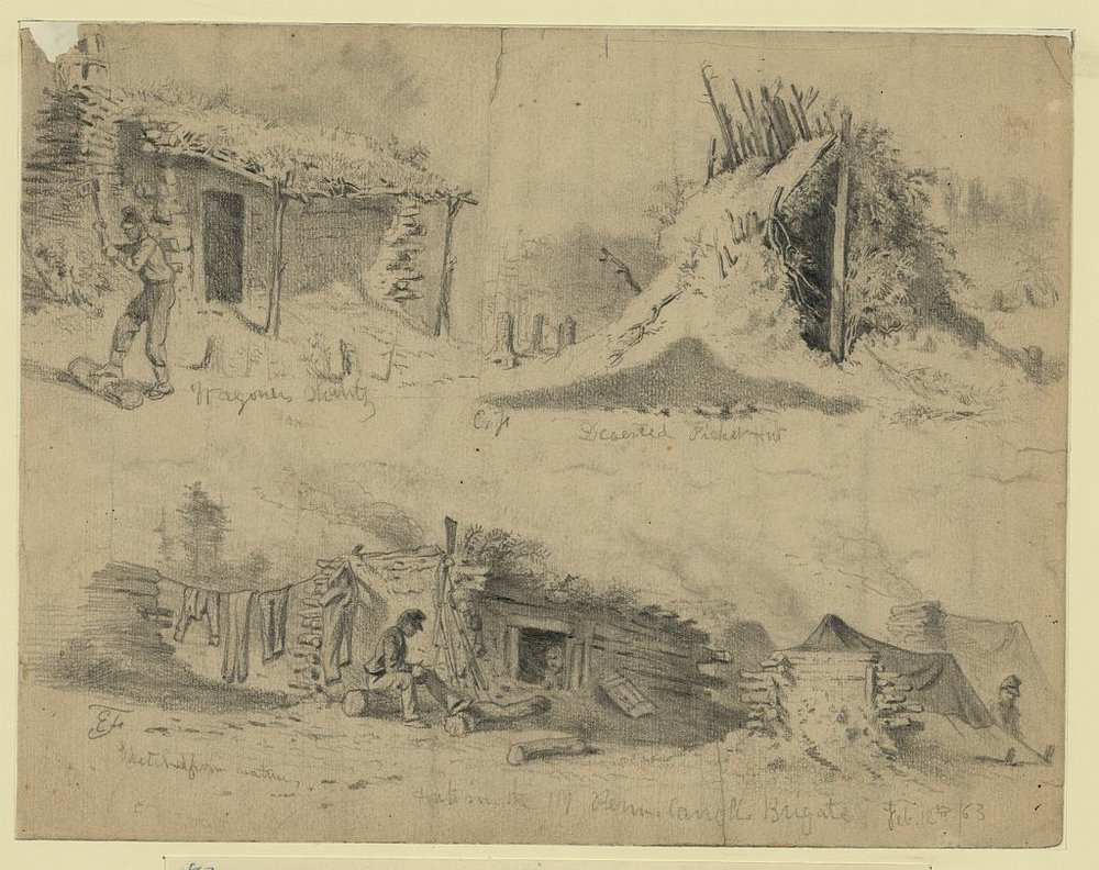 """Soldiers' huts in winter camp,"" drawn by Edwin Forbes, available through Library of Congress Prints & Photographs Division."