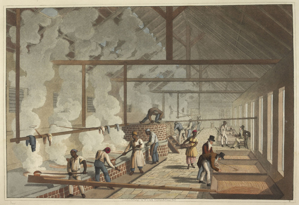 Sugar production, 1820s, Antigua (rather idealized depiction)--From Wikipedia Commons