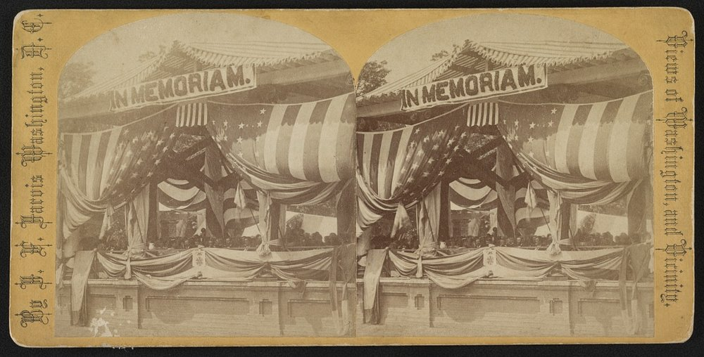 1873 Ceremony at Arlington Cemetery. Stereograph in the Library of Congress Prints & Photographs Collection.