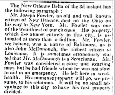 coincidentally, news of Joseph Fowler's death APPEARED in the  Alexandria Gazette  on September 13, 1850.