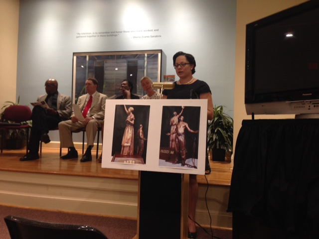 Sen. Jennifer McClellan opens the Public Hearing at the Alexandria Black History Museum on July 31.