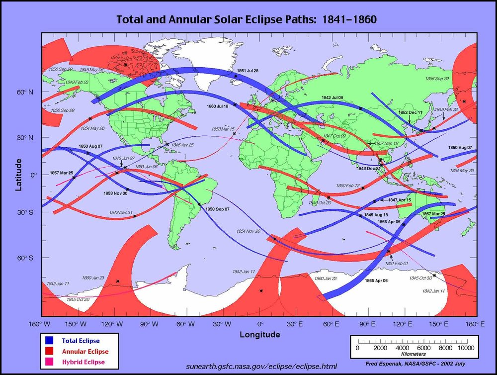 NASA map depicts the eclipses that occurred when Julia Wilbur was living in and near Rochester. The July 18, 1860, total eclipse passed the closest to her when she was living on her family's farm in Rush..