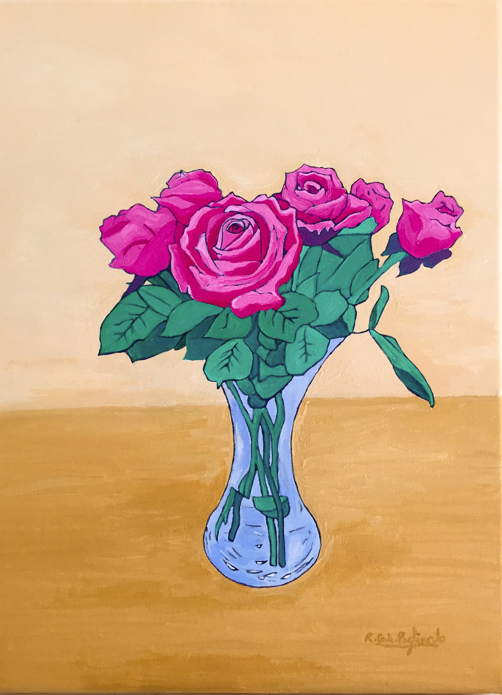 9.Pink roses on a yellow ochre table (2016).jpg