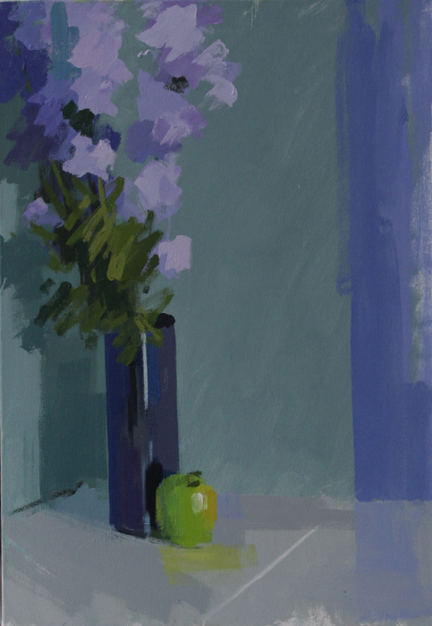 Apple & Larkspur  66 x 46cm oil on canvas by Philip Richardson