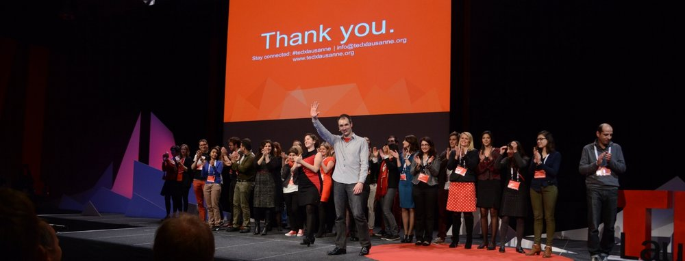 Hosts Dr Sam Lagier and Dr Adria Le Boeuf with the TEDxLausanne2014 team
