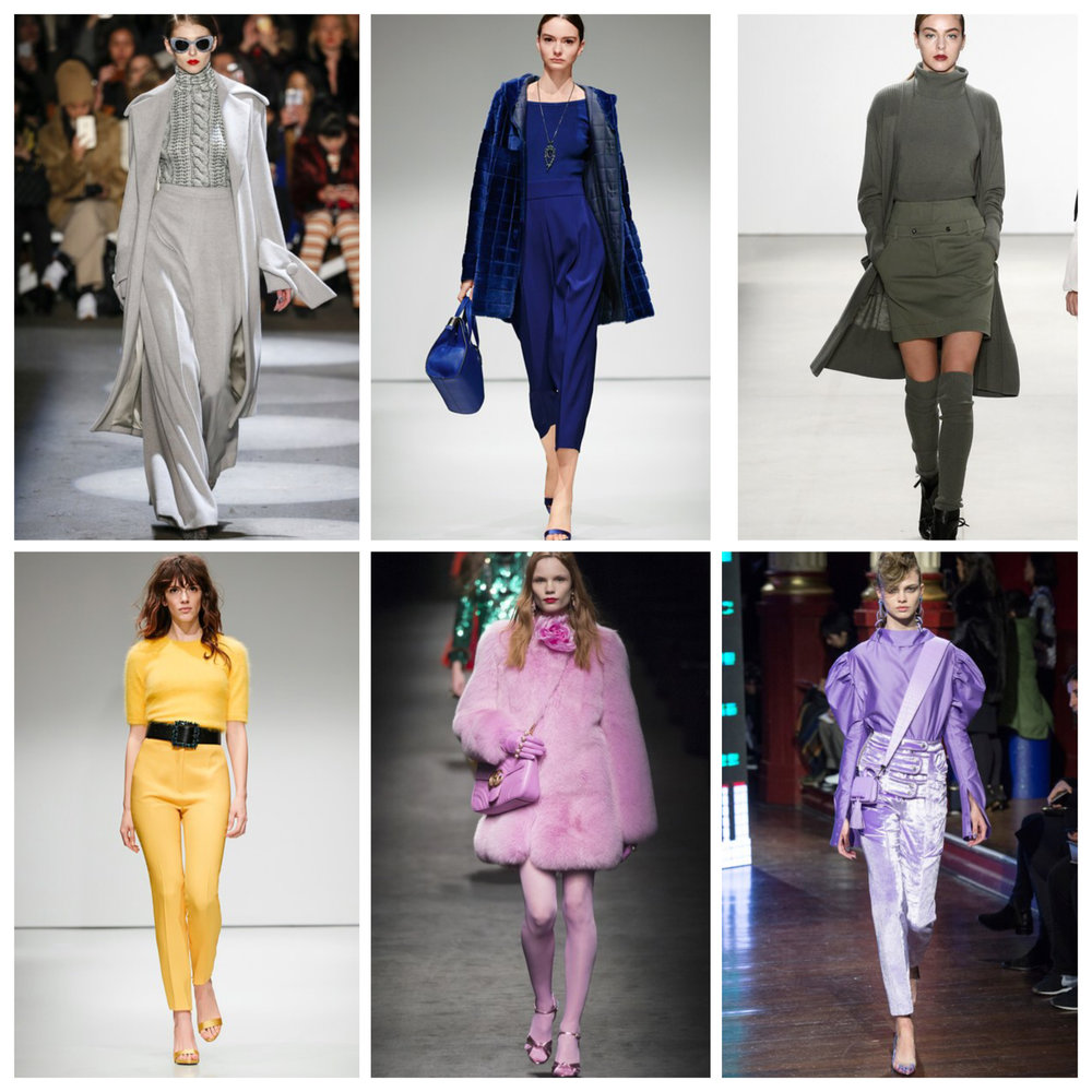 Monochomatic looks from various Fall 2016 Runway shows (L to R):  Gray ( Christian. Siriano) , Royal blue ( Escada) , Olive ( Marissa Webb) , Yellow (Escada), Pink (Gucci), Lavender ( Kenzo).
