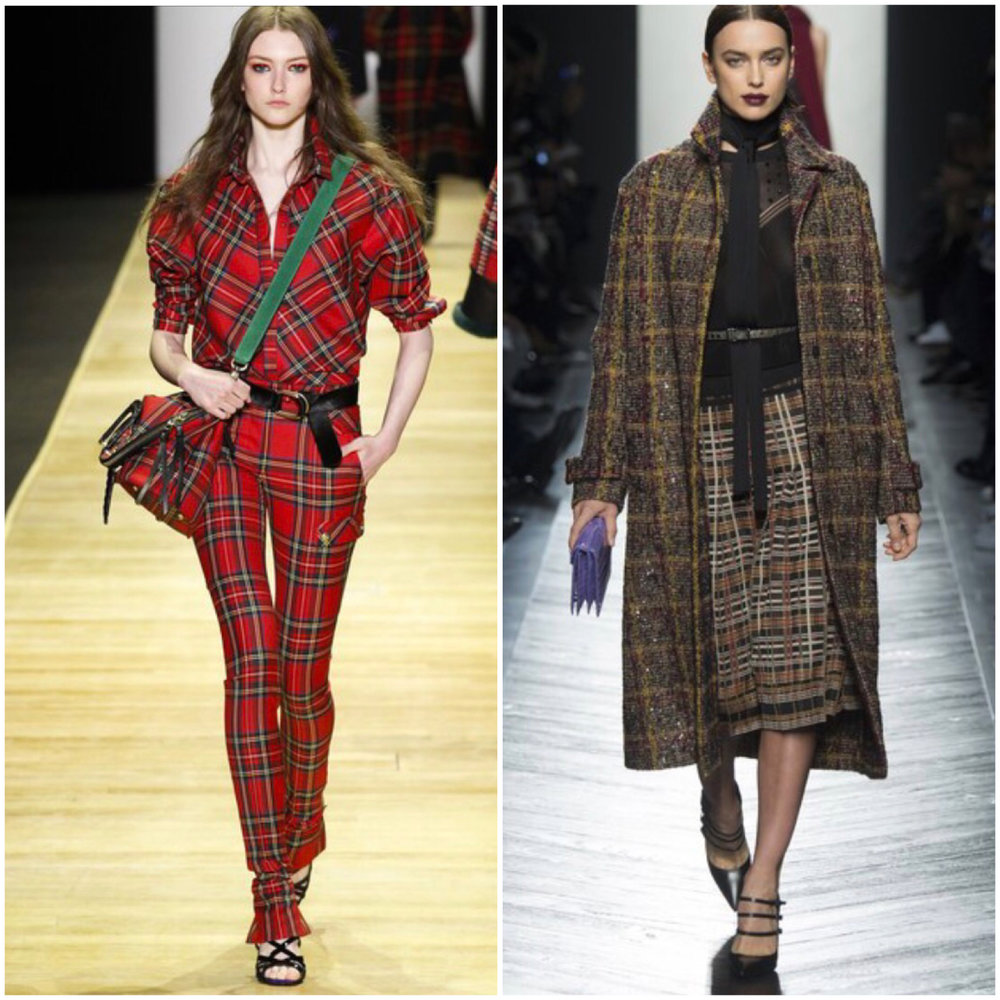 L, Plaid Overhaul: Designer Barbara Bui and R, Plaid Attack: Designer Bottega Veneta in Fall 2016 shows