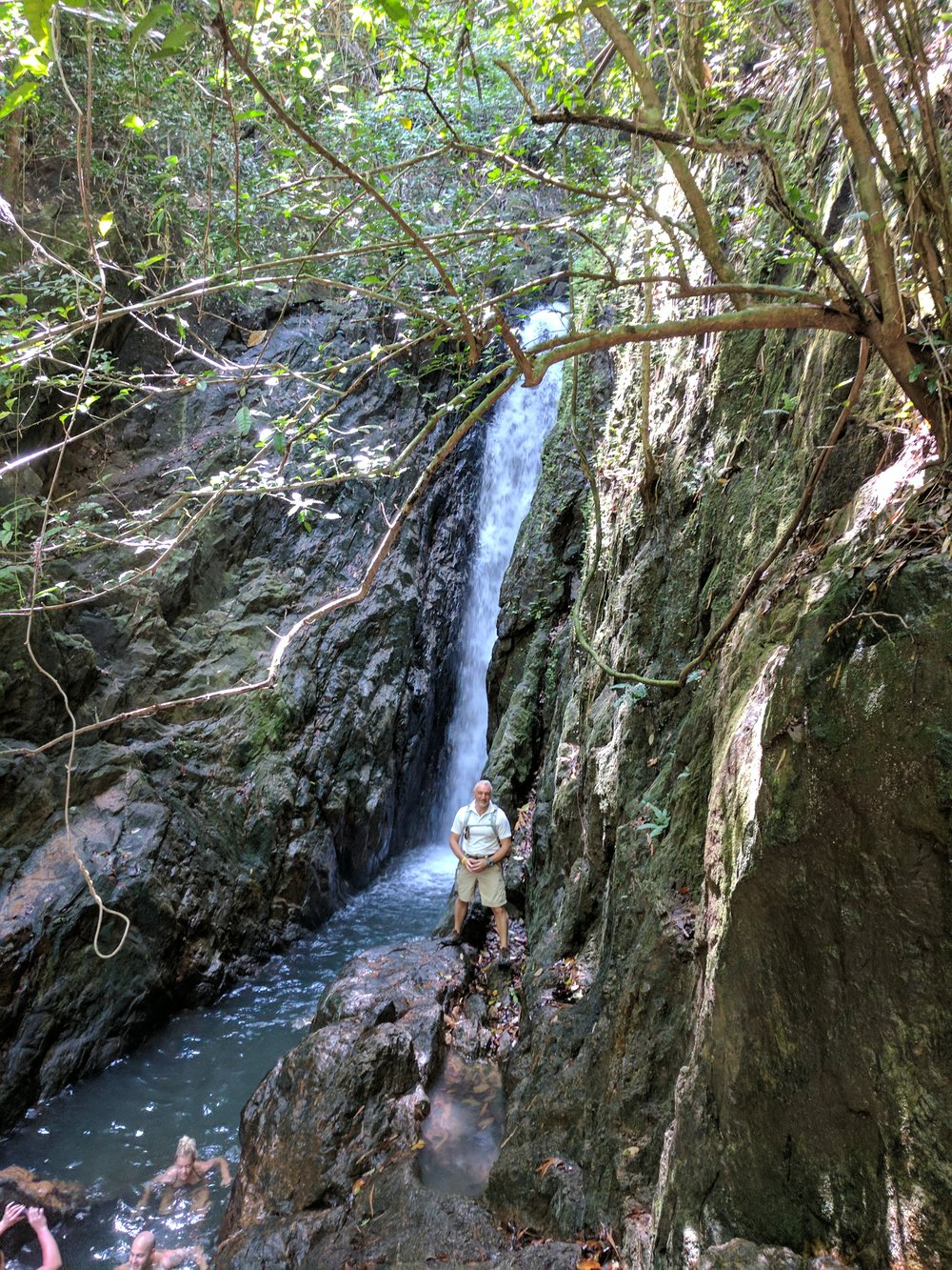Our last day in Phuket, we strayed from the typical tourist path, as we so often do, and hiked up to a local waterfall.