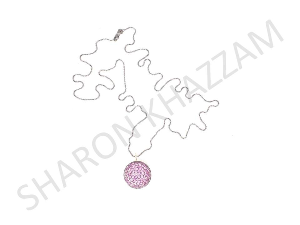 Pink Sapphire Lentil Pendant