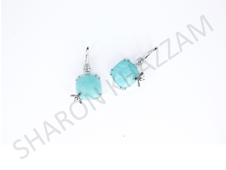 Amazonite Bee Earrings