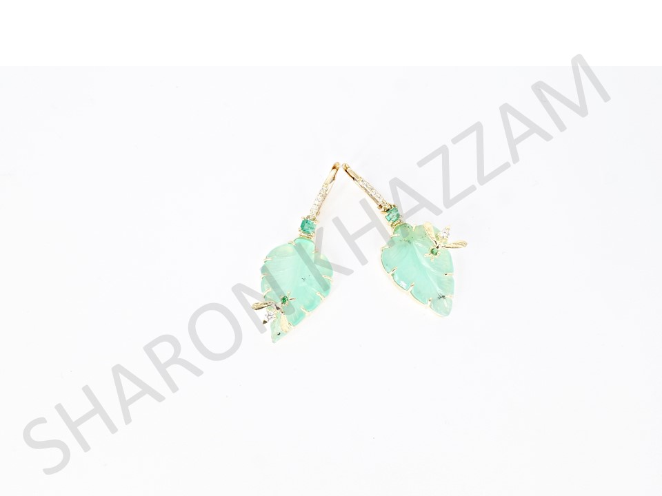 Carved Leaf Chalcedony Bee Earrings