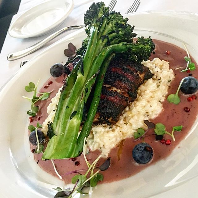 Chipotle Bacon Wrapped Seabass with Blueberry Cream, Lemon Risotto, Grilled Broccolini - @mtkprime #foodporn #williamsville #mainstreet #steakjoint #thisishowweroll #foodfasm #primetime #primethis #fortheloveofsteak🙈😂