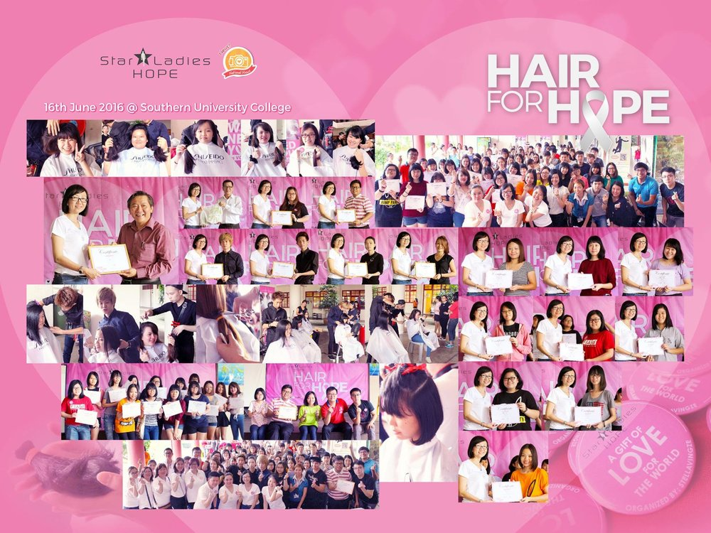 HAIR FOR HOPE . SOUTHERN UNIVERSITY COLLEGE | 7 days ago, StarLadies Hope came to Southern University College. Seeing all these little ladies to be donated their long kept hair to the needy, we feel so proud of your bravery, and touched with your kind heart. Special thanks for the Headmaster of Southern University College for collaborating with us in bring this campaign into school, giving a chance for the youngster to further aware of the importance of social care. Big thank you to all hairstylist who spare your precious time for this hair donation campaign, without you, this campaign will not be a success! We are blessed to all the love and care shared in Hair for Hope, till then, may everyone be blessed with health and love.  Special Thanks to 特别感谢: Prof. Thock Kiah Wah Dr Tan Kim Hooi Paul Lee (NewzSalon) Ric Lim (NewzSalon) Danny Chua (NewzSalon) Love Life Society I-Kuan Tao Society #starladieshope #southernuniversitycollege#hairforhope #newzsalon