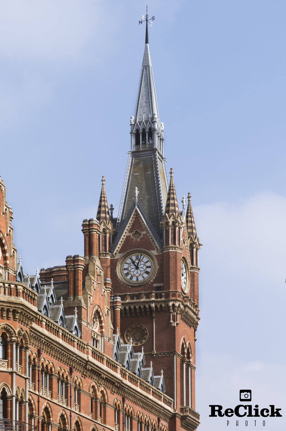 St Pancras Station Clock tower, London.