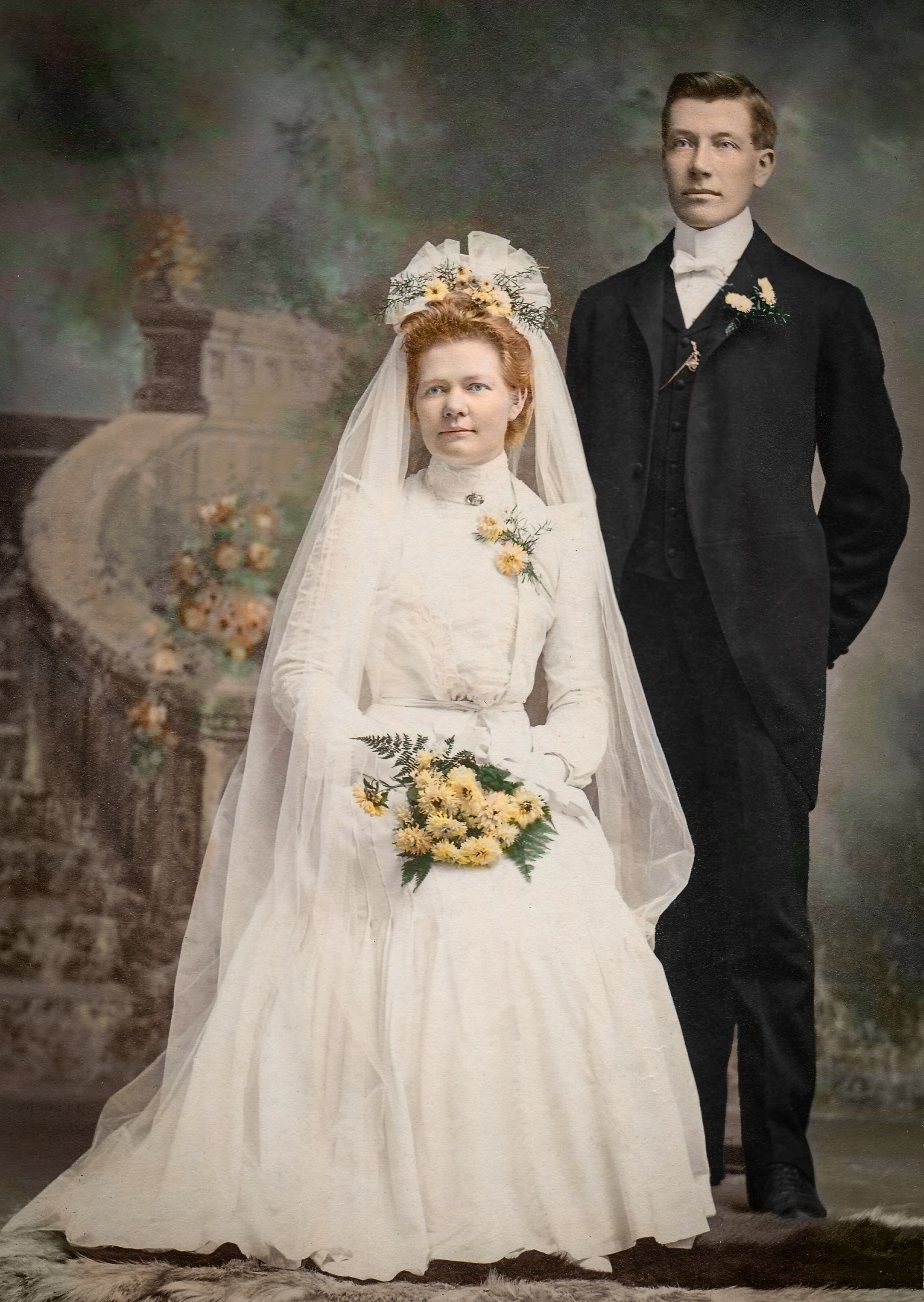 victorian bride and groom recoloured