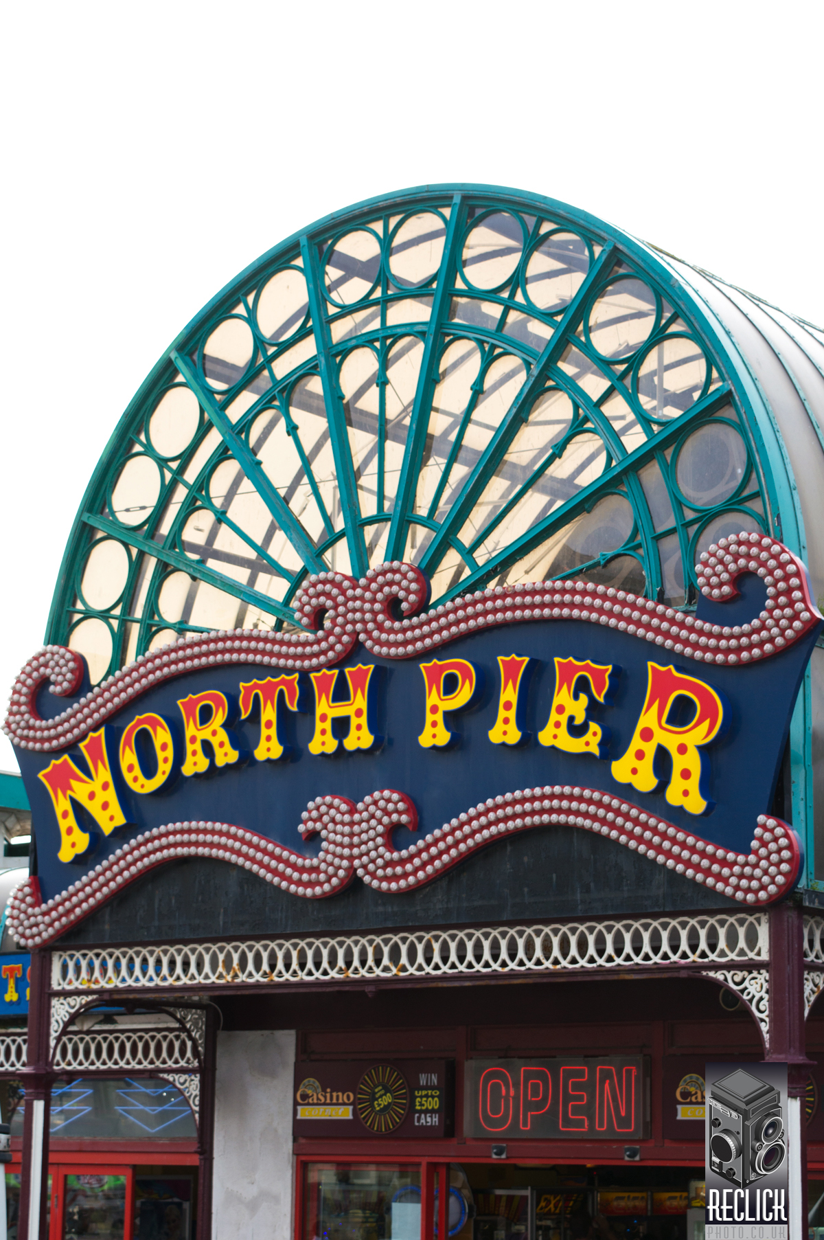North Pier, Blackpool, Lancashire, England, pier, seaside, Victorian, signage, sign.