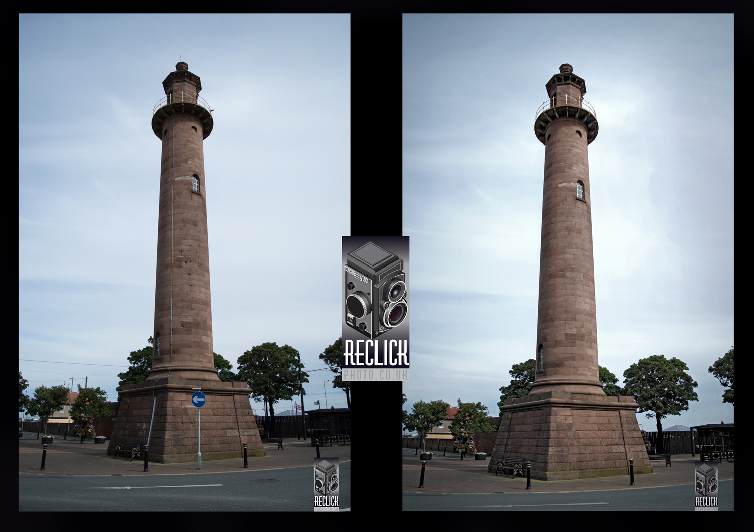 The Pharos Lighthouse Before and after retouching.