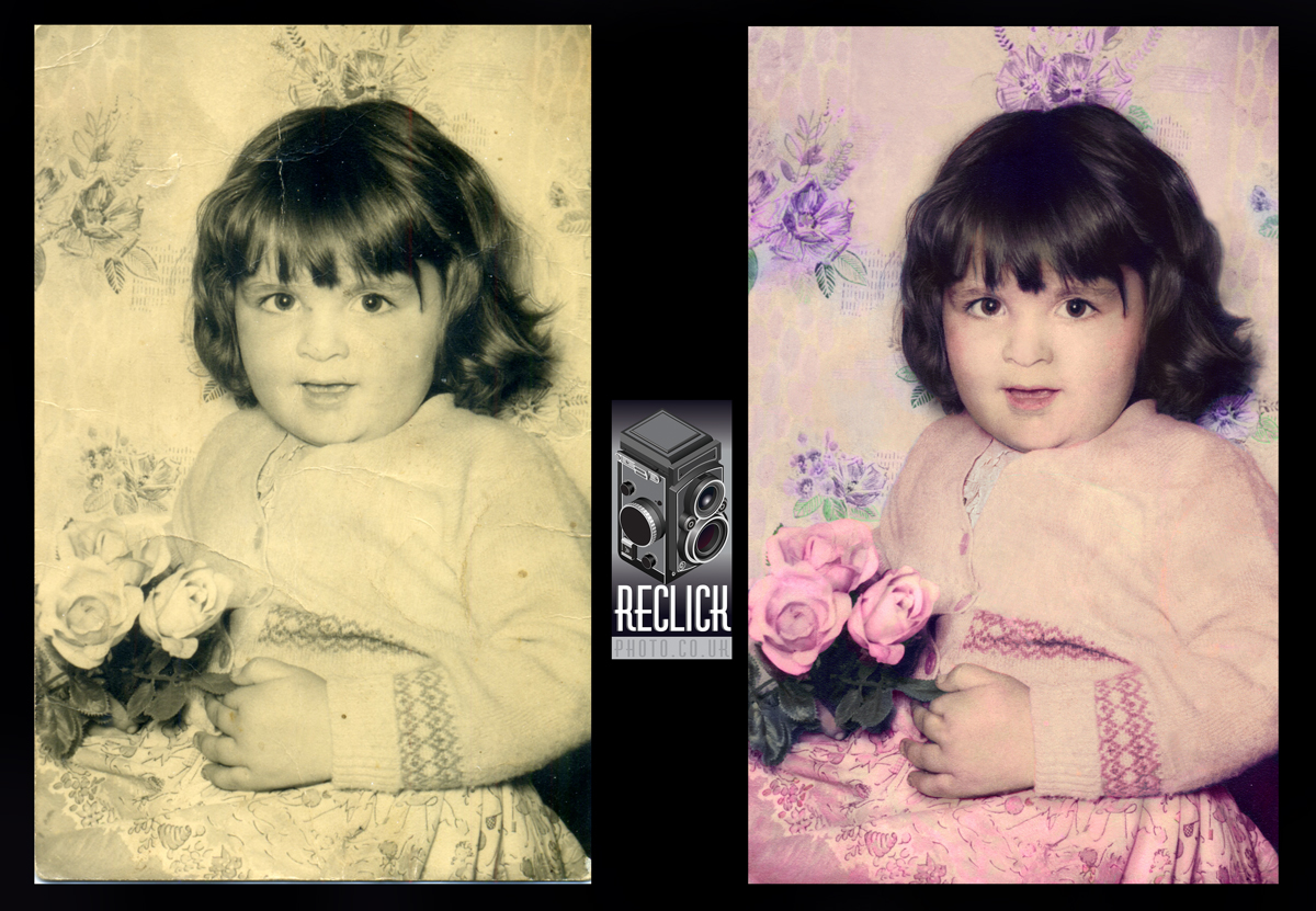 Mothers Day, Mum, girl, child, children, gift, present, restoration, recolouring, vintage.