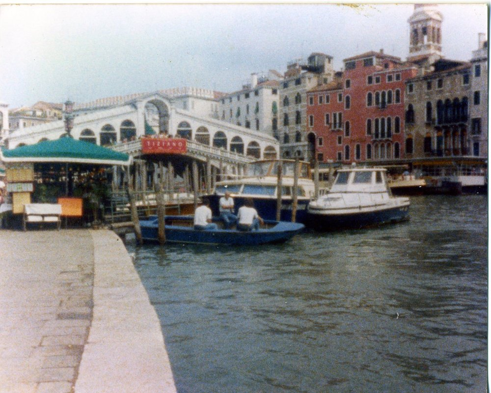 The Rialto Bridge which spans the Bustling Grand Canal, Venice.