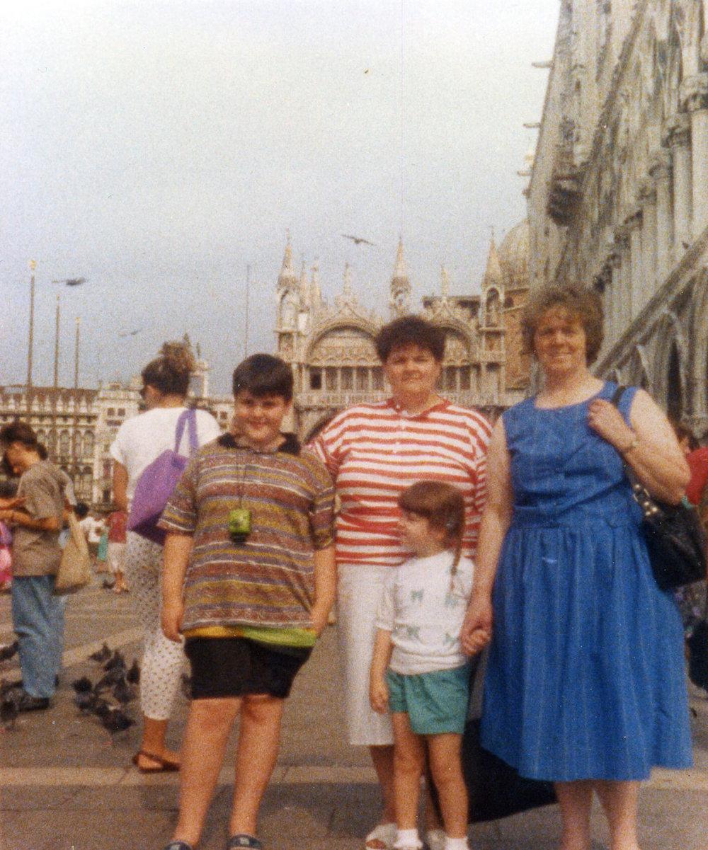 My Mum, Gran, Sister and me at Piazza San Marco, Venice.