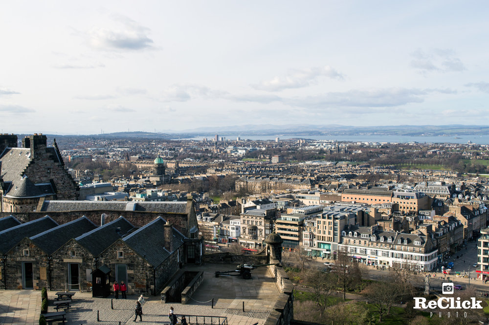 View over Mills Mount Battery with the City of Edinburgh beyond.