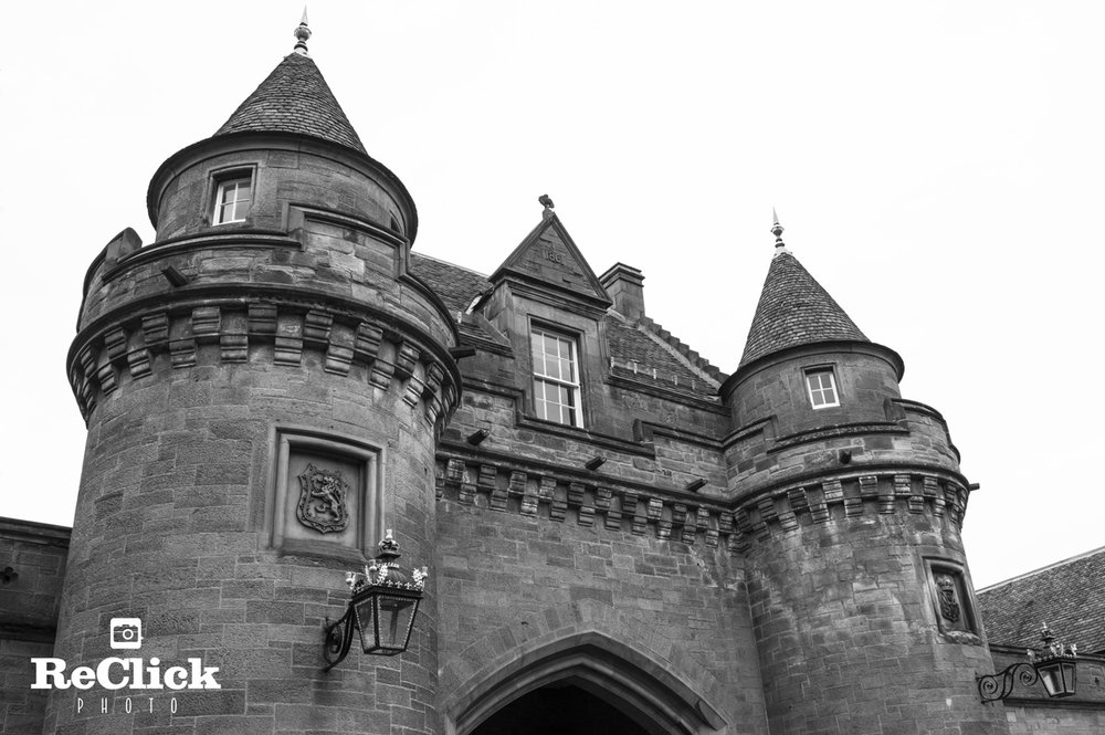 The baronial-style Gatehouse at The Palace of Holyroodhouse.