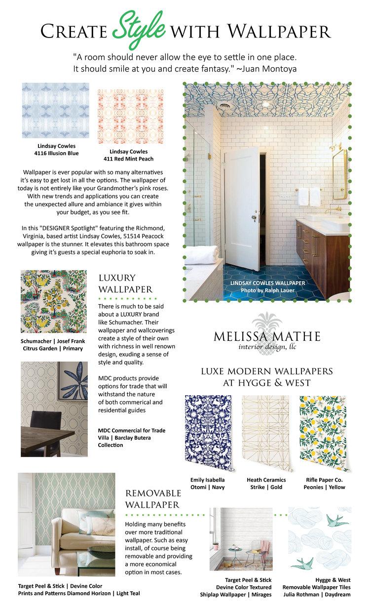 Jun 8 2017 Melissa Mathe Interior Design Commercial Decor Richmond Virginia Style Wallpaper Wallcoverings Removable