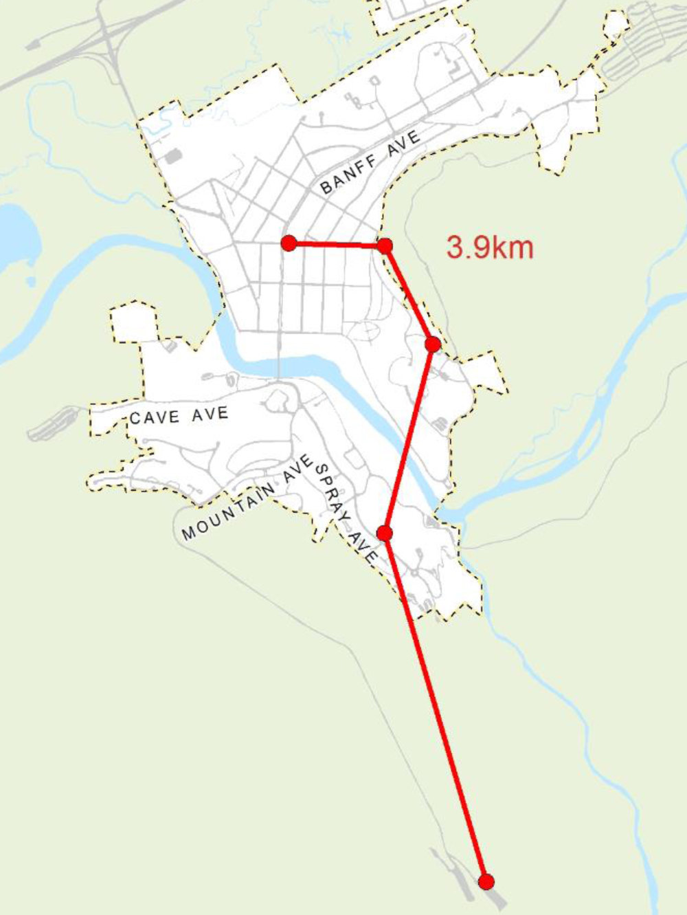 Aerial transit concept from Wolf Street/Banff Avenue to Sulphur Mountain, with five gondola stations.