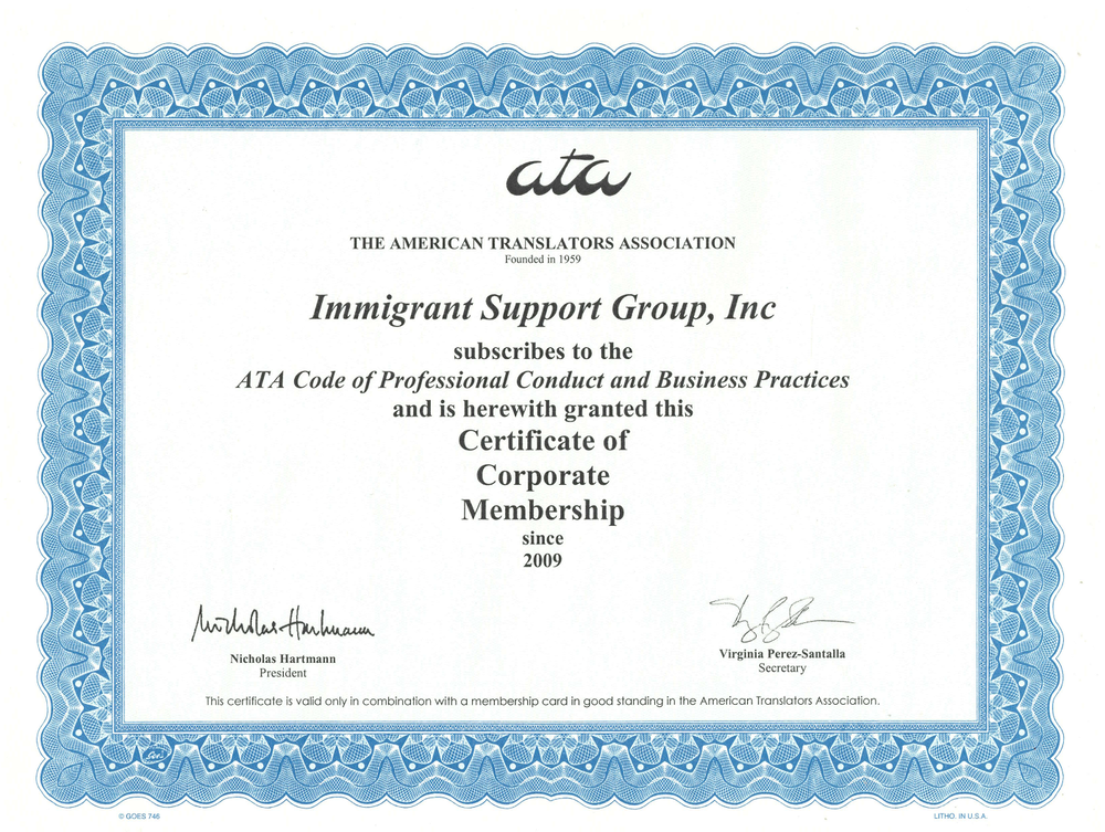 Founded in 2009 - ISG Translation World is a DBA of Immigrant Support Group, which is a corporate member of the American Translators Association - an indisputable sign of quality of all the translation services.