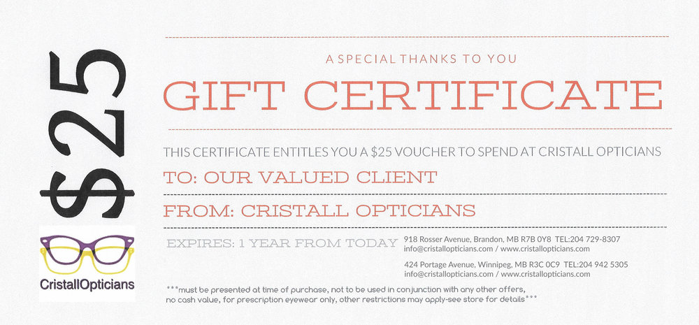 FREE GIFT CERTIFICATE!