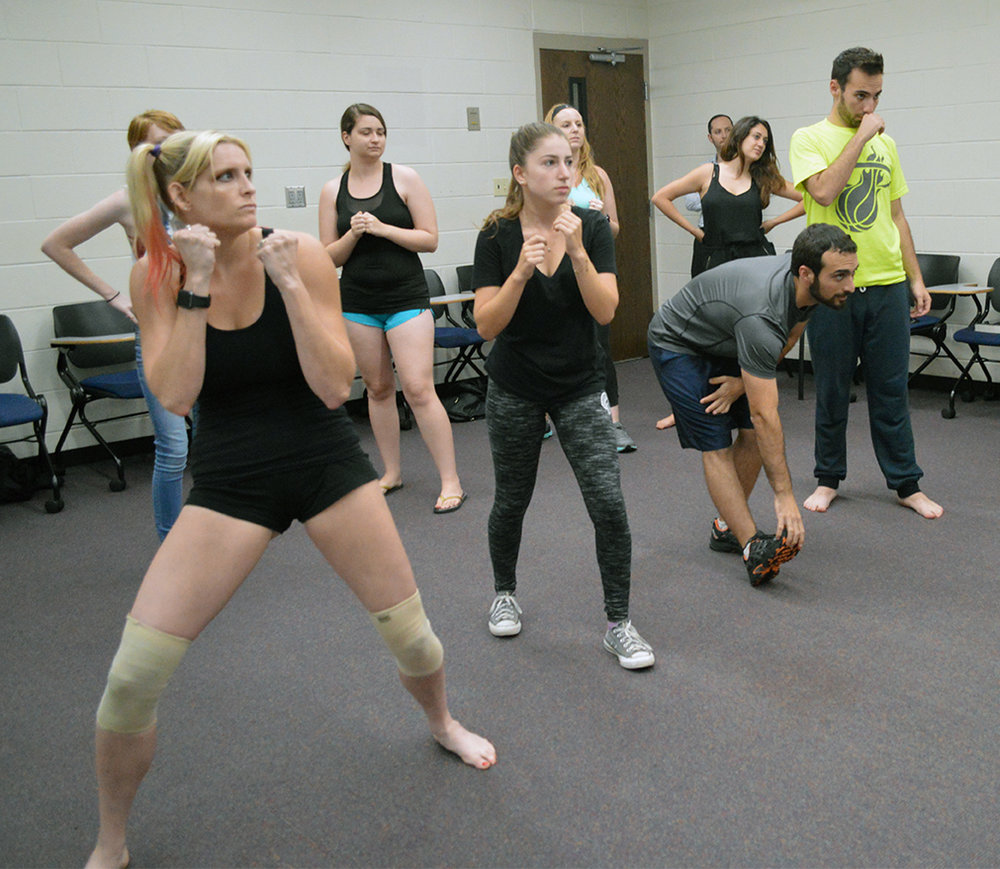 Knights for Israel members practice their fighting skills Krav Maga style in UCF's Engineering I building on Wednesday, Sept. 14, 2016.Krav Maga is a system of self-defense used by the Israel Defense Forces that combines boxing, wrestling and other fight training.