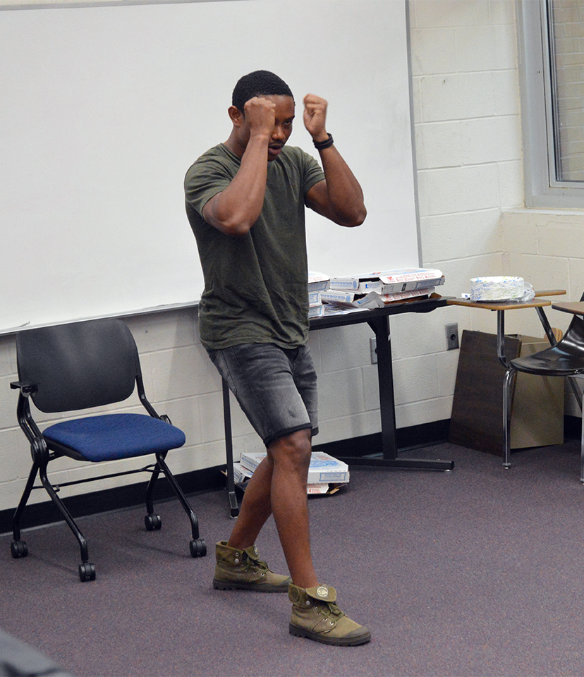 Instructor Pandit Mami teaches an Israeli form of self-defense called Krav Maga to members of Knights for Israel in UCF's Engineering I building on Wednesday, Sept. 14, 2016.