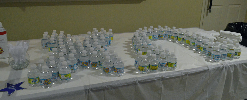 Water bottles in formation of the Chi Omega Greek letters at the Scoop-A-Dish for Make-A-Wish event at the Chi Omega sorority house on Thursday, Sept. 15. Scoop-A-Dish was the last event for Chi Omega's Wish Week, and the money raised will go towards the Make-A-Wish foundation.