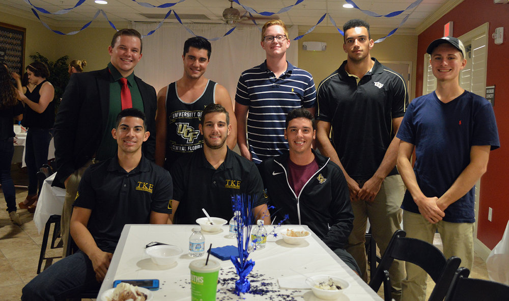 Tau Kappa Epsilon brothers enjoying their time at the Chi Omega sorority house for the Scoop-A-Dish event on Thursday, Sept. 15.